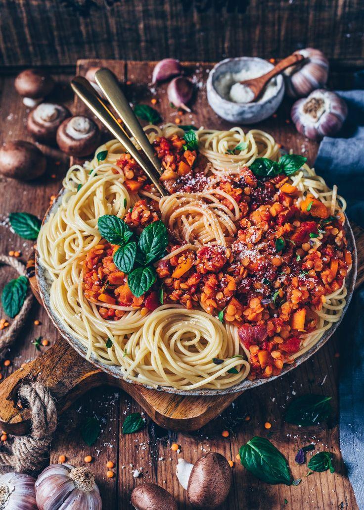 Linsen-Bolognese mit Spaghetti (vegan, einfach