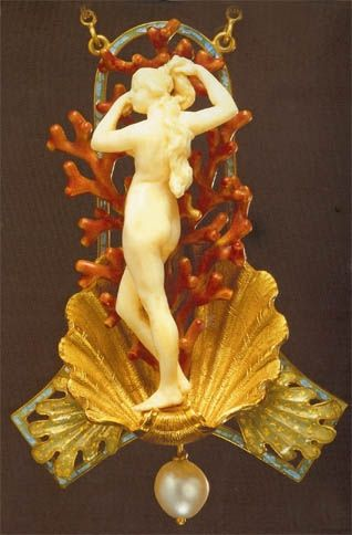 Georges Fouquet, Art Noueau Birth of Venus pendant by Midnight Orchid