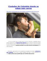 Ciudades de Colombia Donde Se Roban Más Carros