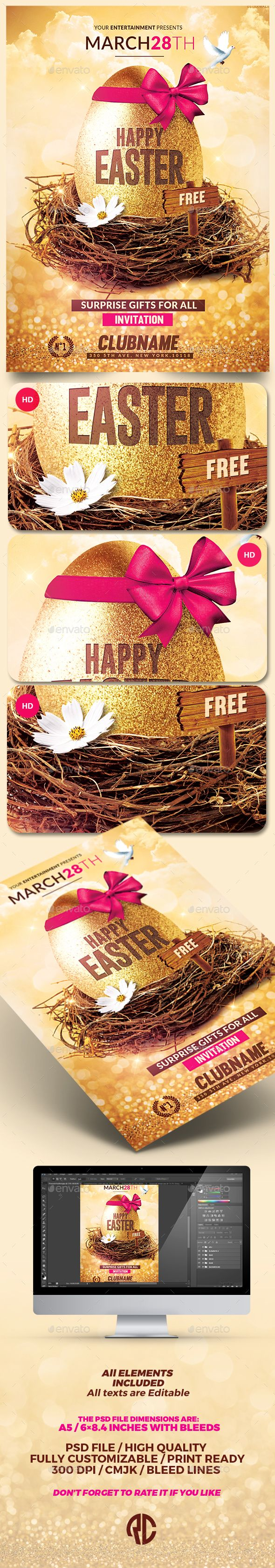 Happy Easter | Flyer Psd Template | Creative Flyer |Psd Available. #flyer #template #party  Thanks for The Watching !