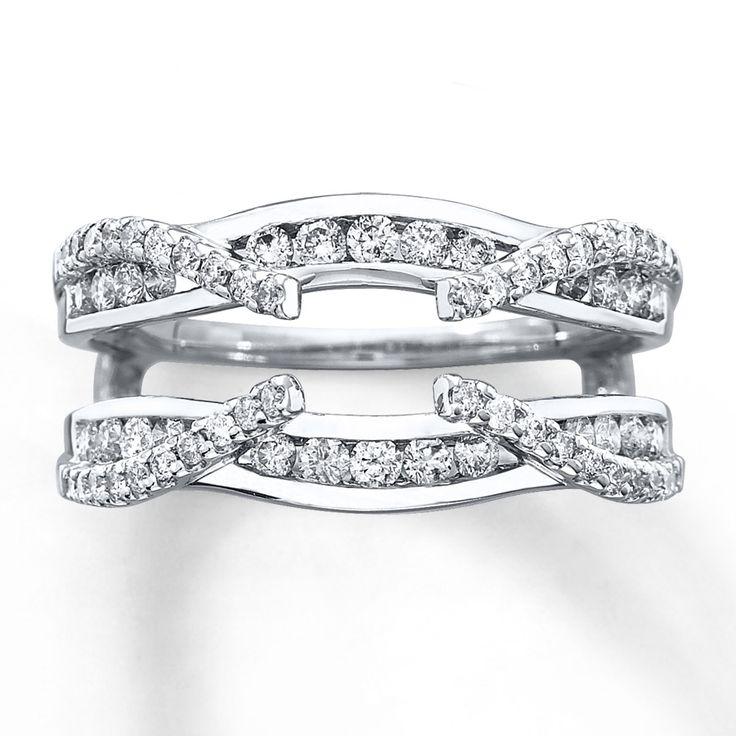 diamond+solitaire+with+enhancers | Diamond Enhancer Ring 3/4 ct tw Round-cut 14K White Gold