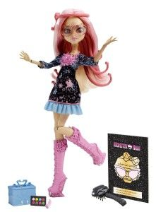Monster High Dolls: Frights, Camera, Action! Viperine Gorgon Doll Viperine Gorgon, a girlie gorgon girl from Barcelgroana, can turn the creepiest character into the most boo-tiful mon-star with her rockin make-up skills. Viperine is Deuce's cousin, Medusa is her Aunt. http://awsomegadgetsandtoysforgirlsandboys.com/monster-high-dolls/ Monster High Dolls: Frights, Camera, Action! Viperine Gorgon Doll
