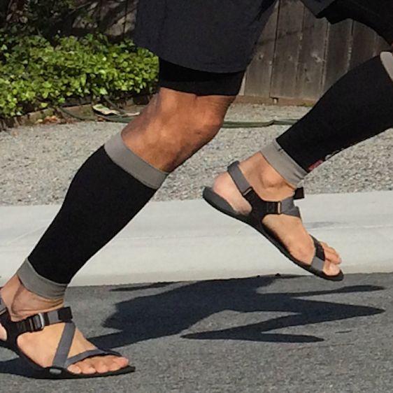 Nicholas Pang in his barefoot running sandals