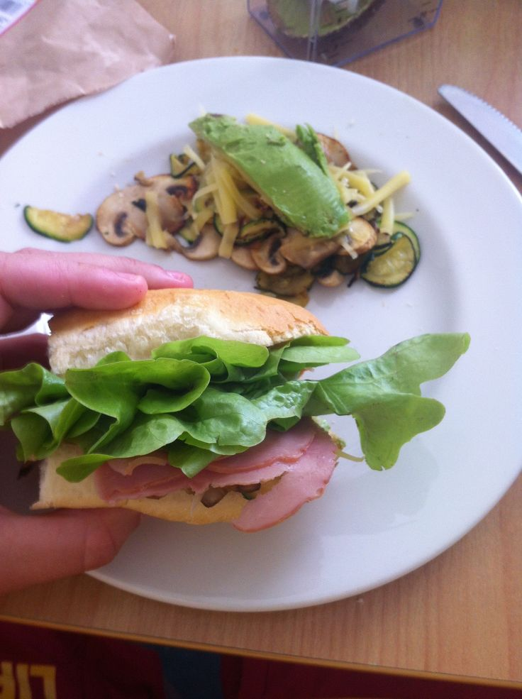 This was actually such a yummy and satisfying lunch! Did for cheap when I was working in a different town every day and staying in motels! Cooked mushrooms, courgettes, with cheese and Avocado. beauuuuutiful avocado. and ham and lettuce and cheese bun!