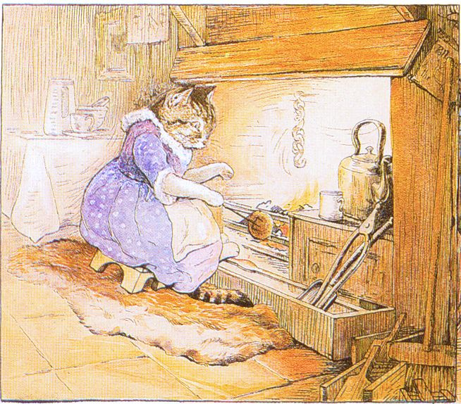 """PUSSY-CAT sits by the fire; How should she be fair?  In walks the little dog, Says """"Pussy! are you there?"""" - Cecily Parsley's Nursery Rhymes, 1922"""