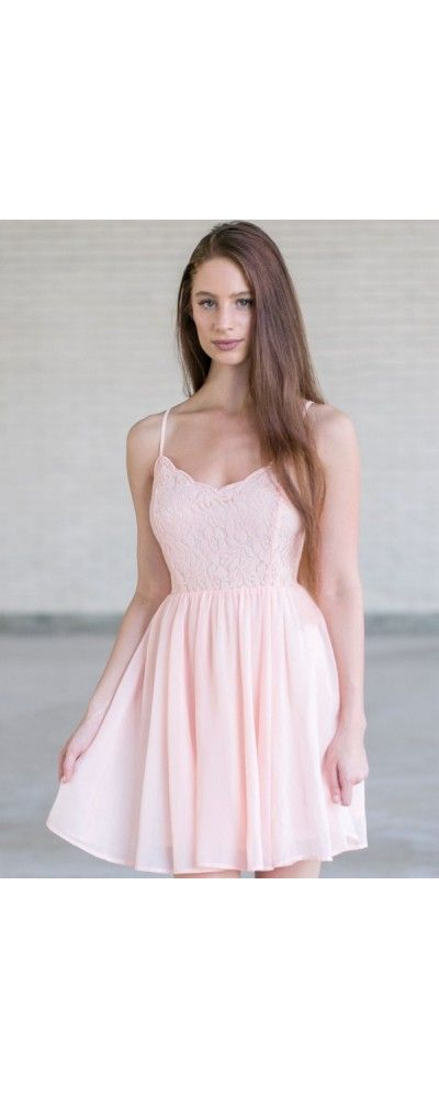 Lily Boutique Young and Beautiful Lace and Chiffon Dress in Blush, $34 Pink Lace Party Dress, Cute Pink Dress, Pink Summer Dress Online www.lilyboutique.com