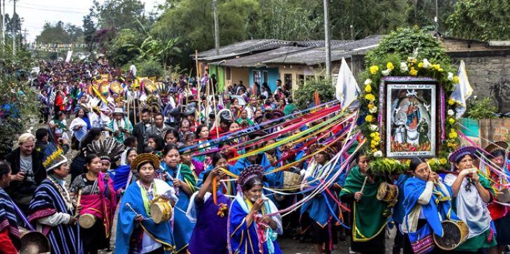 Comunidad indígena Camëntsá biyá celebra la Fiesta del Perdón llamada Bëtscnaté o Gran Día. Municipio de Sibundoy, Putumayo. Febrero 16 de 2015. Foto CARLOS BENAVIDES DÍAZ