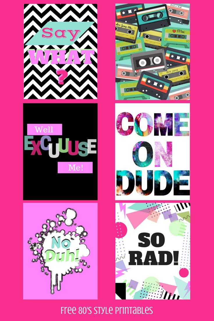 Free 80 S Style Printables 80s Party Decorations Printable Party Decorations Party Printables Free