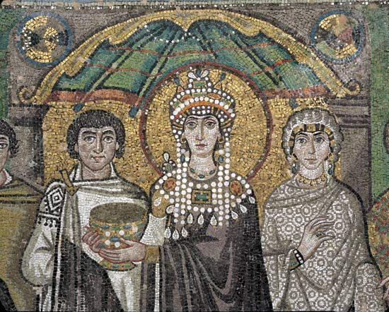 Empress Theodora, Byzantine empress, wife of the emperor Justinian I (reigned 527–565), probably the most powerful woman in Byzantine history. Her intelligence and political acumen made her Justinian's most trusted adviser and enabled her to use the power and influence of her office to promote religious and social policies that favoured her interests. Born c. 497 CE. Died June 28, 548
