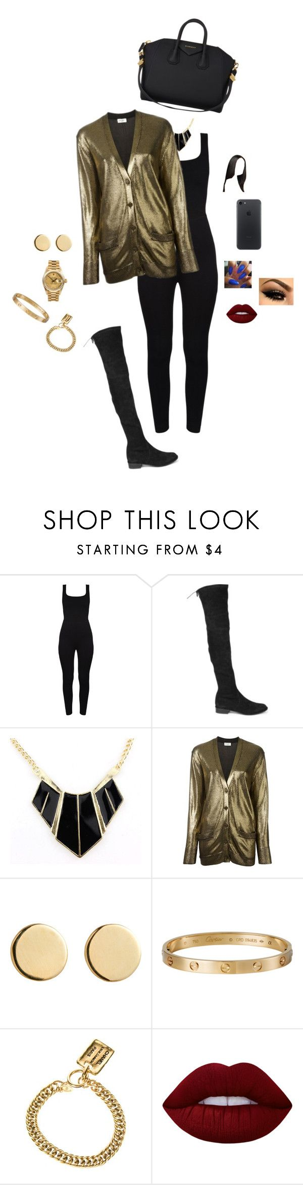 """Black and Gold Day"" by destinee1019 ❤ liked on Polyvore featuring Stuart Weitzman, Yves Saint Laurent, Loren Stewart, Chanel, Lime Crime, Rolex and Givenchy"
