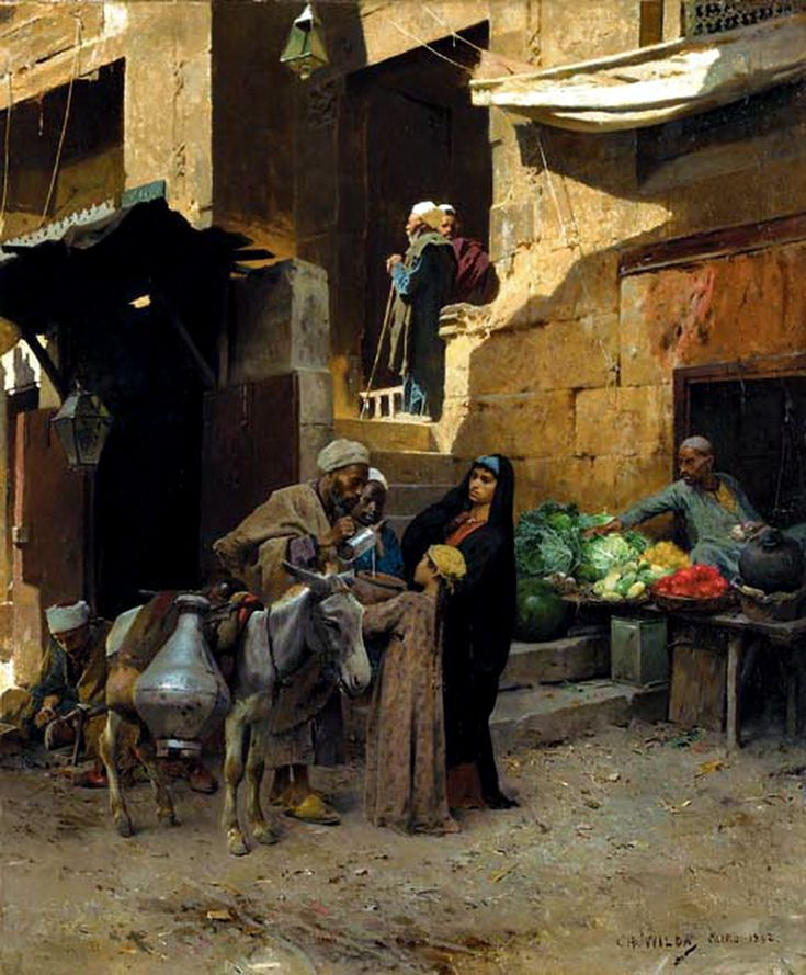 Egypt , Old Cairo Paintings: Charles Wilda (Austrian, 1854-1907) Inside the souk, Cairo 1892