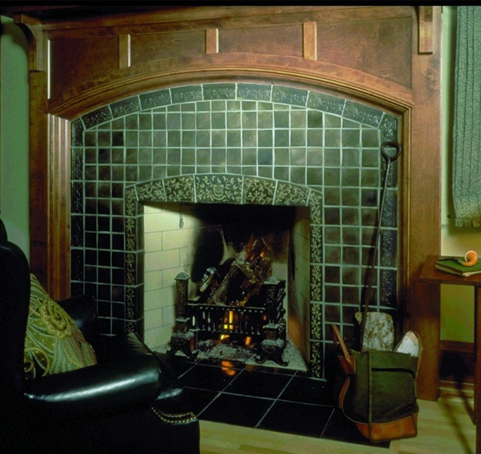 29 best images about fireplace tile inspiration on for Arts and crafts floor tile