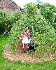 Teepee Den:  Easiest of all the dens to create, fun for kids, great for runner beans throughout the summer season.    What you will need    1) Approximately 8 - 10 long bamboo canes (6 - 7 feet minimum).    2) A packet of runner bean seeds.    3) Some gardening string or a cable tie or similar.    4)  a roll of chicken wire (optional)   5) space