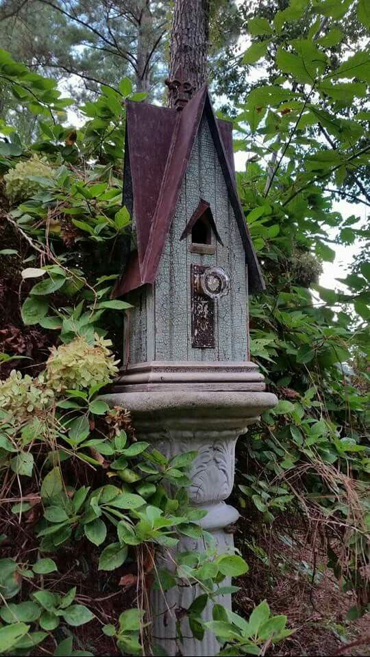 1927 crackled aqua, v-groove boards birdhouse.