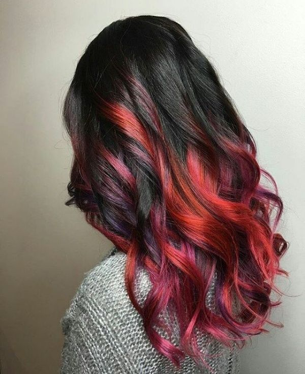 black and red hair ideas with violet