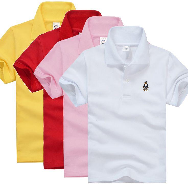 Kualitas tinggi Anak Laki-laki Polo Baju Bayi Laki-laki Perempuan Pakaian Musim Panas Katun Lengan Pendek Padat Tshirt Putih Merah Kuning