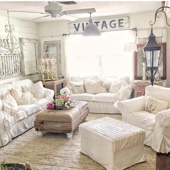 Cozy All White Living Room Decor Rustic Farmhouse Livingroom