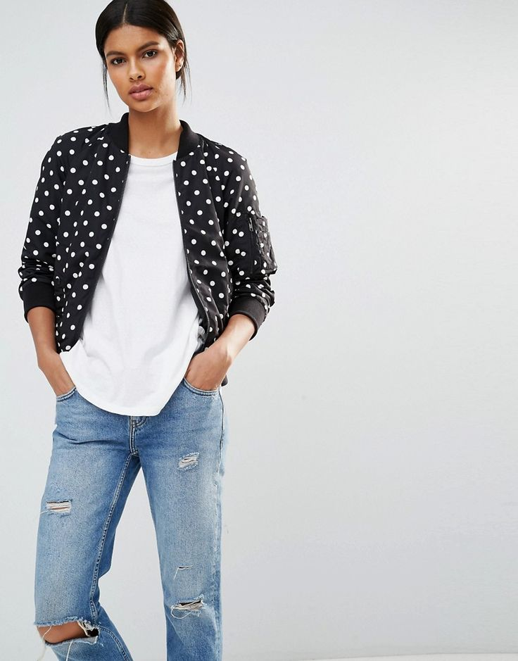 French Connection Dotty Spot Bomber Jacket at asos.com
