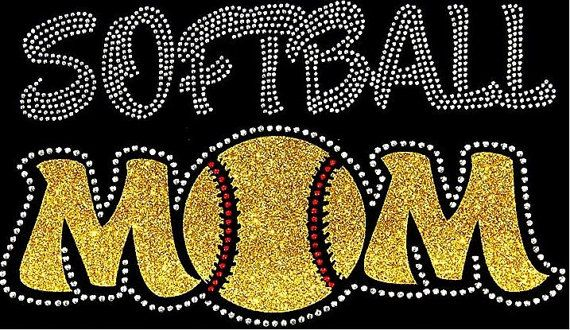 Rhinestone Softball Mom T-Shirt Bling Shirt by DesignsbyDaffy