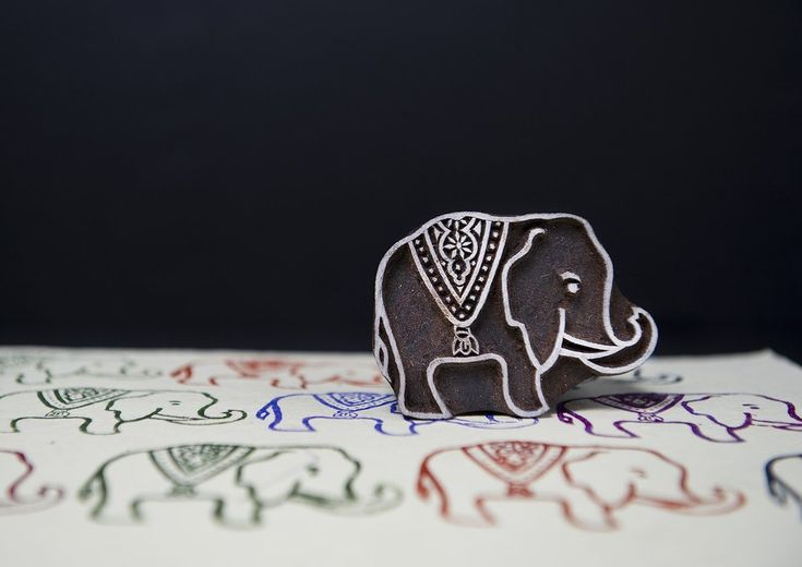 Royal Elephant Stamp by Blockwallah from Dough.Tools.