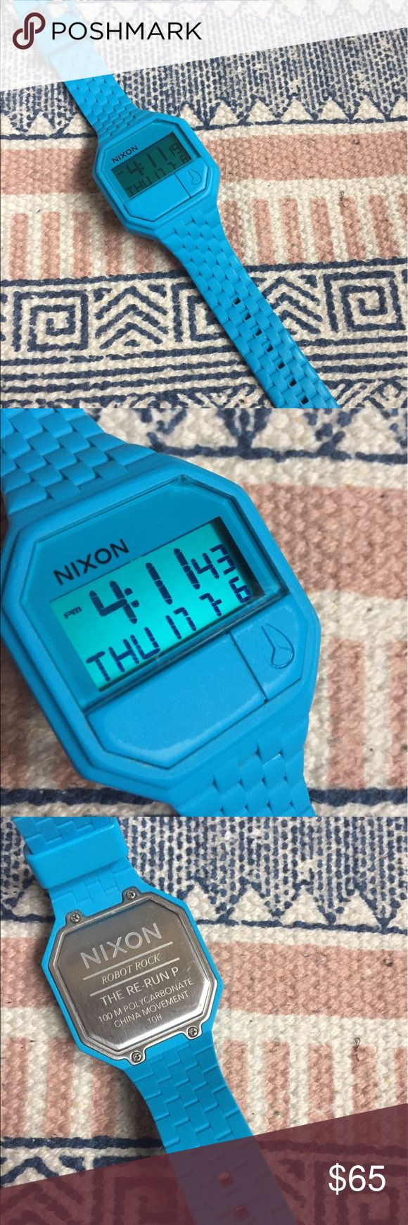 RARE ✨Teal Nixon ReRun Rubber watch RARE teal Nixon from the RUBBER RE-RUN retro vibe!  Custom digital calendar, dual time Alarm countdown timer light custom 30 M water resistant  I just put a new battery in this Watch so it's already to be used! Surprisingly bold and matched with a lot of my outfits! (Unfortunately I have an Apple Watch so I'm downsizing my watch collection). As you can see it's in perfect shape! Nixon Accessories Watches