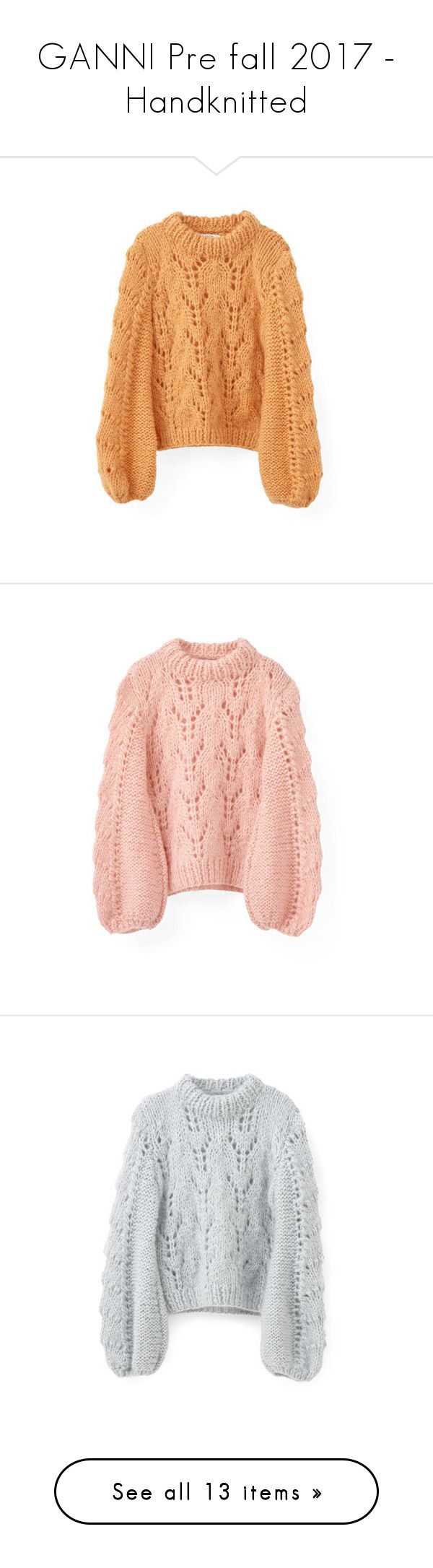 """GANNI Pre fall 2017 - Handknitted"" by ganniofficial ❤ liked on Polyvore featuring ganni, tops, sweaters, sweater pullover, scalloped tops, bell sleeve tops, beige pullover sweater, oversized sweater, print sweater and oversized pullover sweater"