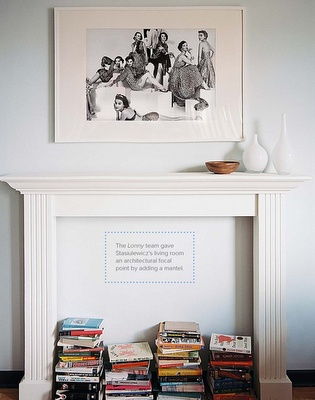 faux fireplace filled with books: Mantels, Idea, Living Rooms, Decoration, Interiors Design, Book, Faux Fireplaces, Mantles, Art Rooms