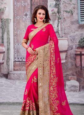 Magenta latest designer Indian wedding saree with blouse