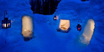 Snowbrick igloo village in Sinettä village, Rovaniemi, Lapland, Finland