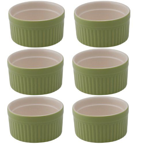 HIC Brands that Cook Transitionals Ceramic Ramekin, Set of 6, Sage  Set of 6 round ramekin ceramic dishes  High-fired with a scratch free glaze; broiler; oven and dishwasher safe  Perfect for olive oil, dips, dressings, sauces and baking your favorite souffle and hot desserts  2-ounce size; each ramekin measures 2-1/2 by 1-1/2 by 2-1/2 inches  Create a beautiful table with coordinating HIC Transitionals