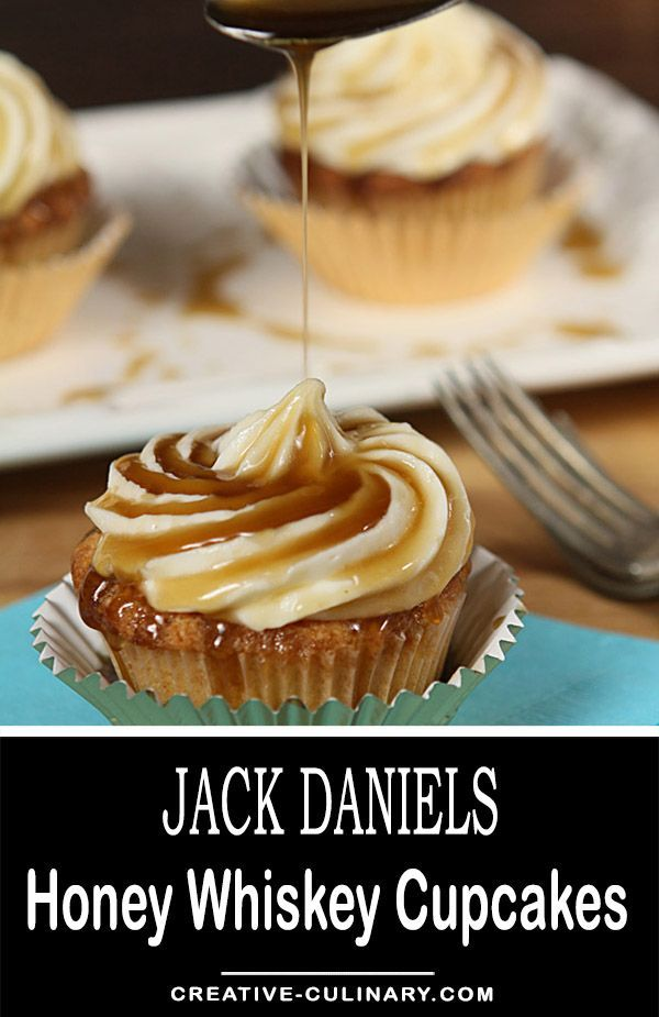 These Jack Daniels Honey Whiskey Cupcakes with a Boozy Drizzle are completely decadent and the most popular recipe on my blog; you must try them! via @creativculinary #jackdaniels #jack #daniels #honey #whiskey #cupcakes #dessert #birthday #anniversary