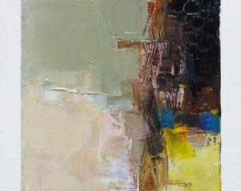 Septembre 19, 2016 - peinture abstraite à l'huile - 9 x 9 peinture (9 x 9 cm - environ 4 x 4 pouces) avec des tapis de 8 x 10 pouces