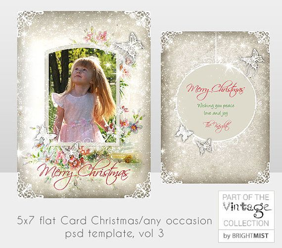5x7 in Christmas Card Template photo frame by BrightMistDesigns, £3.00