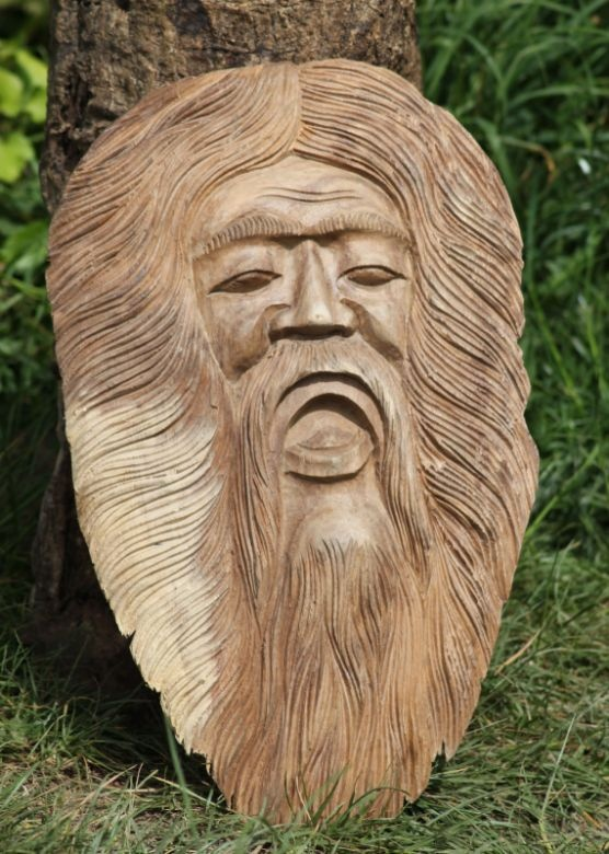Garden Decor Wooden Hand Carved Green Man Plaque