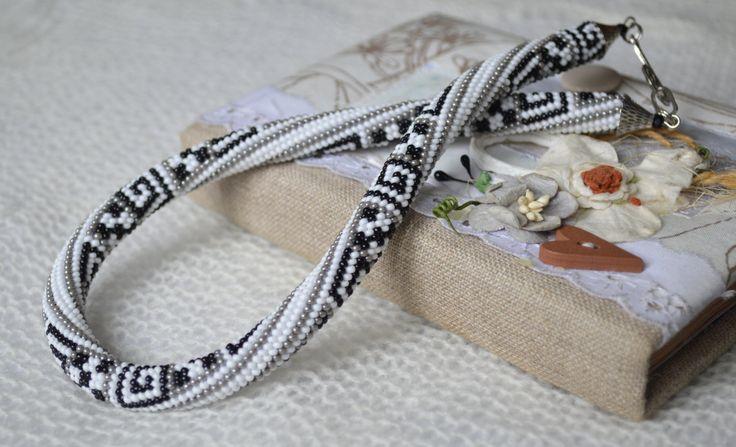 Greek Ornament Bead Crochet Necklace rope Greek by IvonaHMJewelry