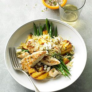 Grilled Chicken & Peaches With Green Beans & Orzo