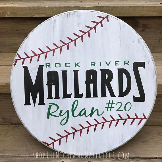 Personalized Baseball Sign, Circle Baseball Sign, Baseball Decor, Kids Bedroom Decor, Custom Sports Decor, Home Decor, Wood Sign