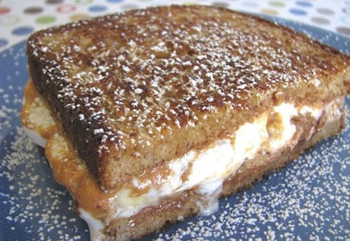 Banana Peanut Butter Cup And Marshmallow Grilled Sandwich