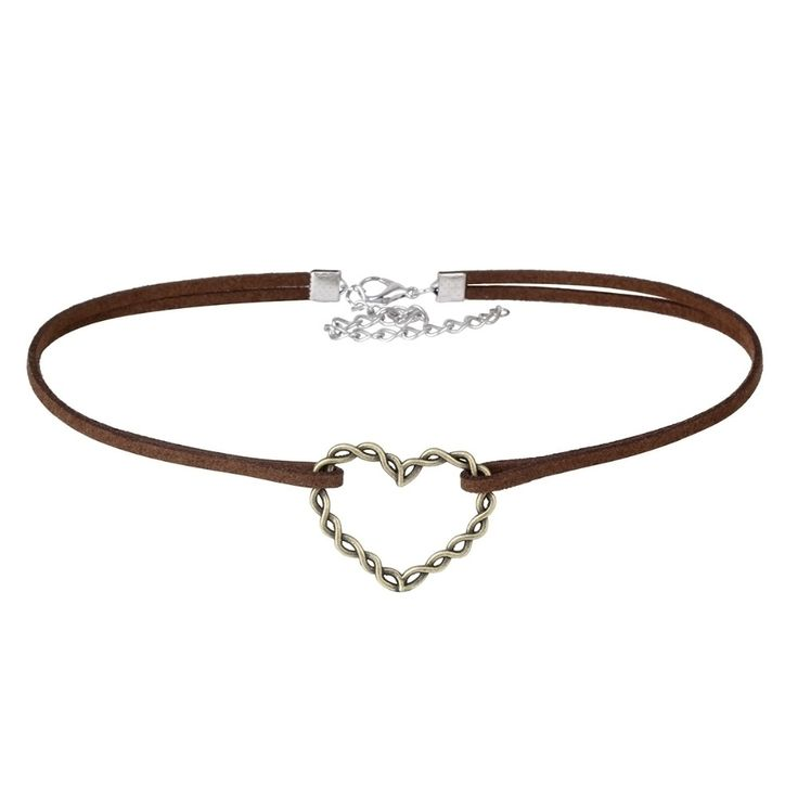 Brown Velvet Double Choker Necklace with Heart Pendant