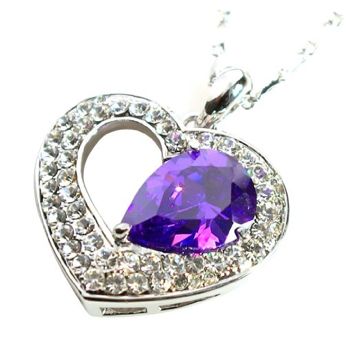 $24.99 Ocean Heart Pendant Necklace with Swarovski Crystal Elements Tanzanite / Purple White Gold Plated  From Le Premium   Get it here: http://astore.amazon.com/ffiilliipp-20/detail/B0086VCSYQ/179-8916094-9459223