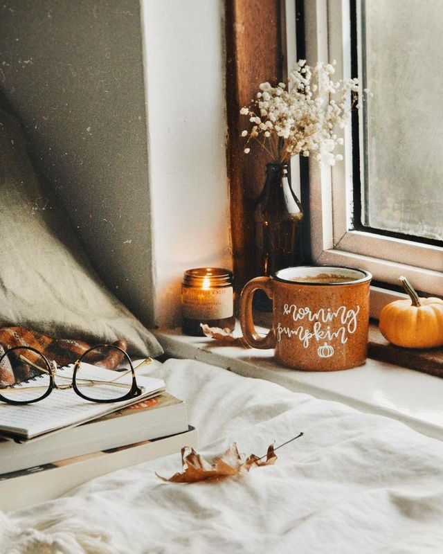 Cozy feel. Autum, Nothing in the pictures is out of place, everything contributes to picture. Subject, coffee cup? This could be made by the hall window. pillow, wool blanket, coffee. won't know it isn't a window seat. cmc