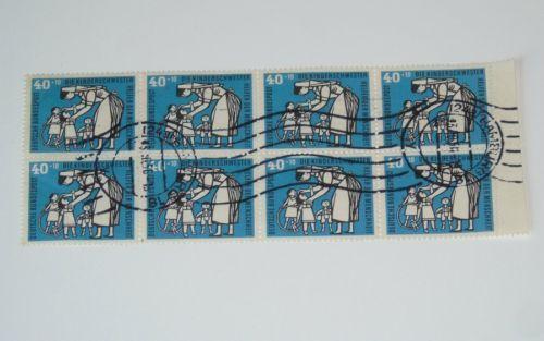Stamp Pickers Germany 1956 Child & Nurse Semi-Postal Block Sc #B353 x 8 $120