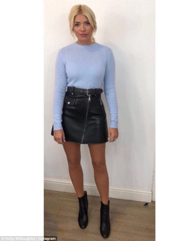 Trendsetter: Holly Willoughby looked sensational as she put on a leggy display in a flirty leather mini-skirt on Instagram
