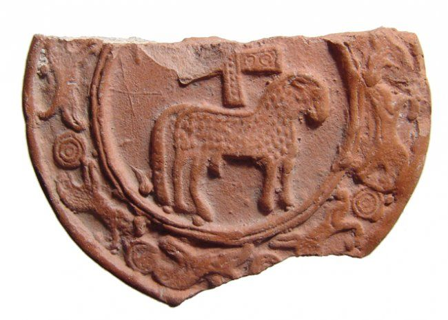 Roman red ware sherd with Lamb of God, North Africa, 5th century A.D. Published in Light from the Age of Augustine. Private collection