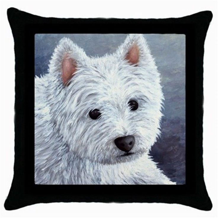 Throw Pillow Case black Cushion Cover Dog 137 White Westie art painting L.Dumas #Unbranded