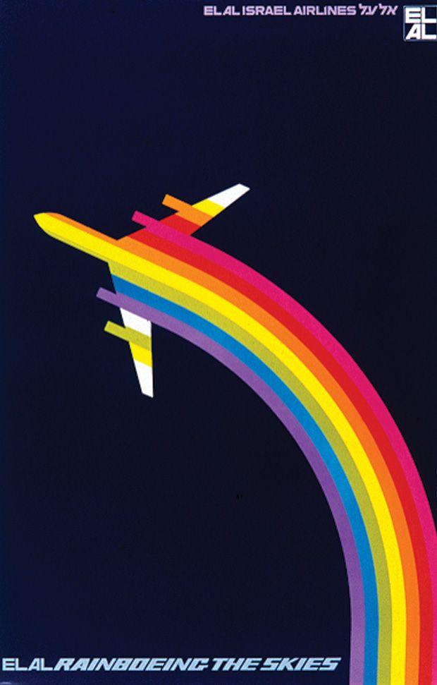 Rainboeing the Skies (1971), an ad introducing the new Boeing 747 to El Al Israeli Airlines by graphic designer Dan Reisinger.
