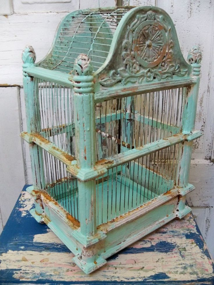 Wood and metal birdcage Solid large thick ornate wooden hand painted sea foam mist distressed decor Anita Spero. $180.00, via Etsy.