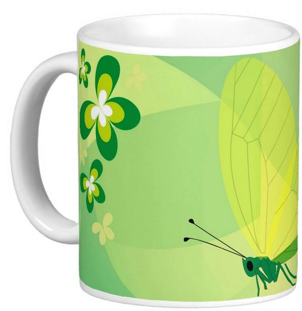 Butterfly in green 11oz Classic White Mug from ¤zazzle - Buy link: http://www.zazzle.com/butterfly_in_green_11oz_classic_white_mug-168299314017806647?rf=238901250819094787