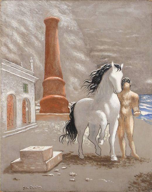 """DE CHIRICO GIORGIO (Volos 1888-Roma 1988)  Le rive della Tessaglia 1926  Olio su tela, 93x73 Firmato in basso a sinistra: """"G.de Chirico"""""""