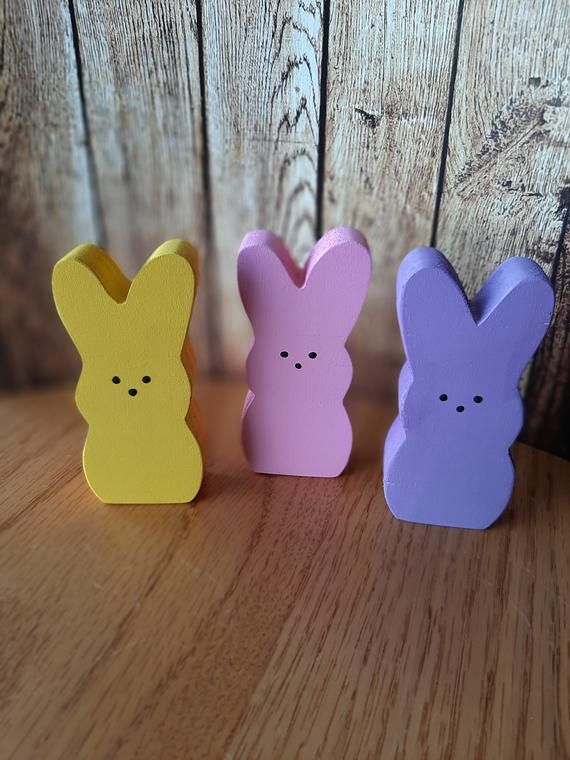 Ceramic Peeps Marshmallow Bunnies 3 Easter Bunnies Glitter Easter Decorations